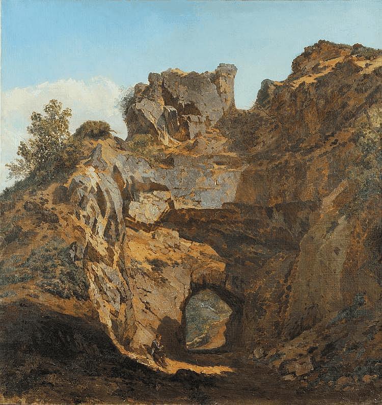 Att. à Paul Chevandier de VALDROME (1817 - 1877) Jeune homme dans un paysage rocheux Toile 148 x 138 cm Sans cadre