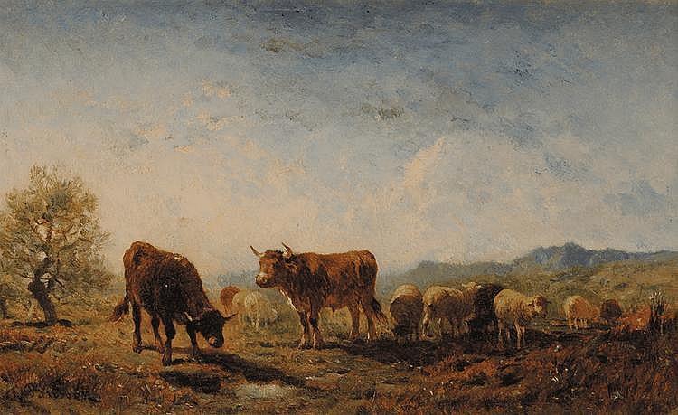 Félix Saturnin BRISSOT DE WARVILLE (1818-1892) Troupeau en montagne Huile sur panneau Signé en bas à gauche 18 x 28 cm
