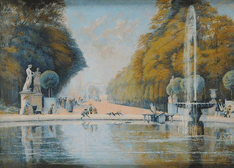 Adolf Gustav SCHLABITZ (1854-1943) Les Tuileries Pastel Signé en bas à droite 70,5 x 97 cm