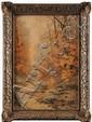 Hippolyte Jean Adam GIDE (1852-1921) Chemin en forêt Aquarelle S igné en bas à droite 53,5 x 36 cm