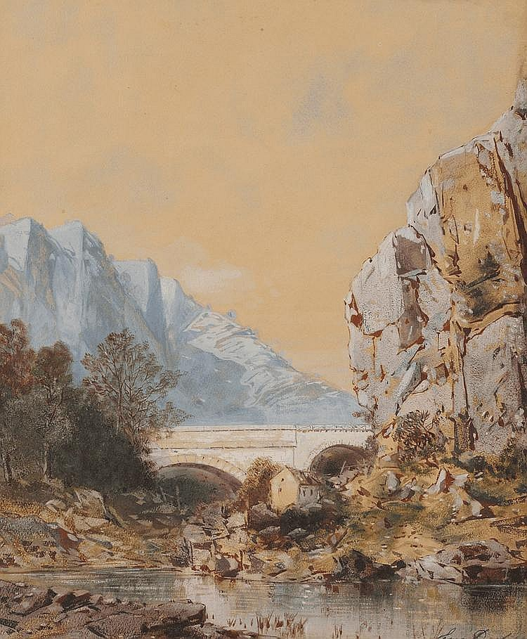 Eugène DESHAYES (1828-1890) Viaduc en montagne Aquarelle et gouache Signé en bas à droite 34,3 x 28,5 cm