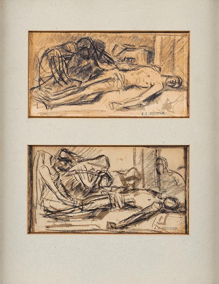 Jean Jacques HENNER (1829-1905) Déploration du Christ mort Deux fusains dans un même montage Cachet de l'atelier «JJ Henner» 10x18 cm chaque Nos dessins sont à rapprocher d'autres dessins de l'artiste, Etude de cadavre allongé sur le dos, conservés