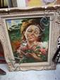 Travail français - circa 1940 Jeune femme au bouquet Huile sur panneau 58 x 40 cm (hors cadre)