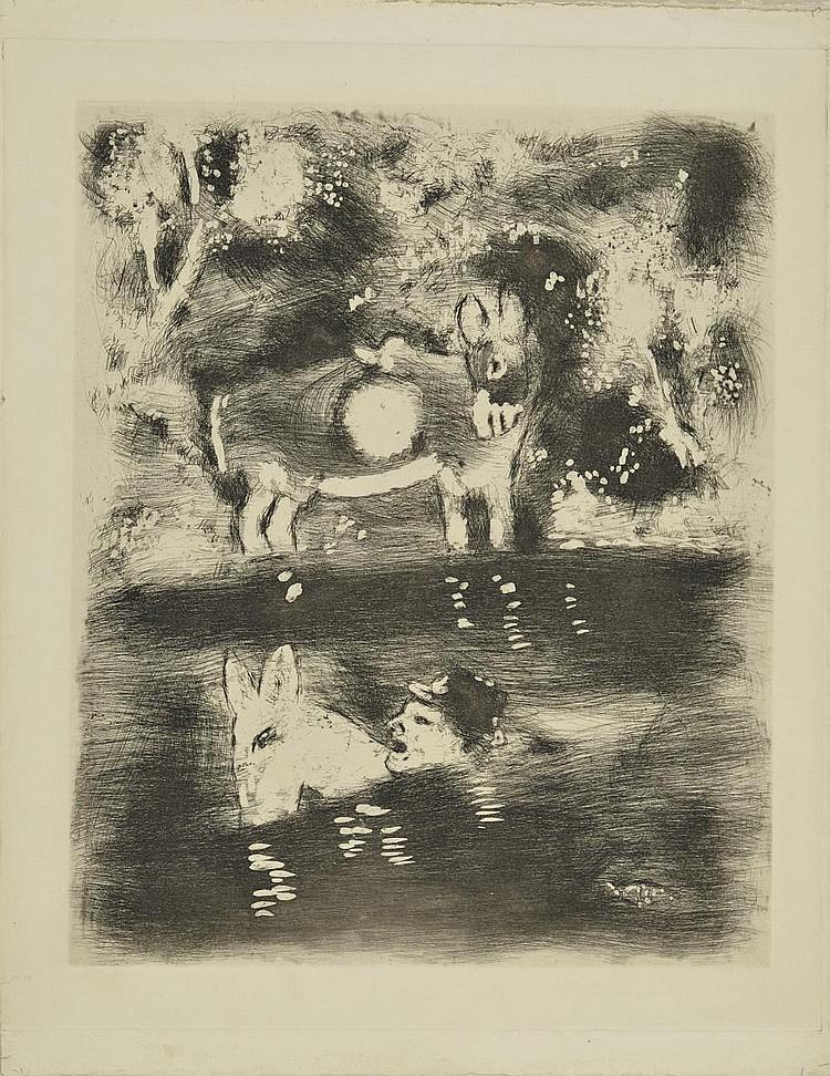 CHAGALL Marc, 1887-1985 Fables de La Fontaine, L'âne chargé de sel et l'âne chargé d'éponges eau-forte en noir, non signée, 35,5x29,5 cm.