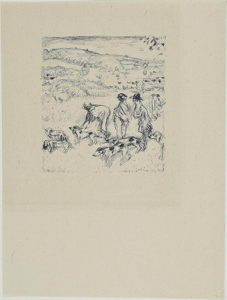 BONNARD Pierre, 1867-1947 Daphnis et Chloé, le lâcher des chiens lithographie en bleu sur Chine, variante pour les illustrations de Daphnis et Chloé (légère trace d'insolation), non signée, 15,5x14 cm. BIBLIOGRAPHIE Bonnard l'Oeuvre gravé, Francis