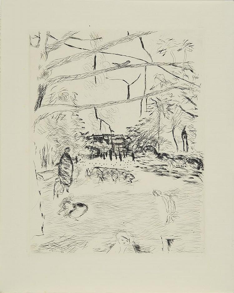 BONNARD Pierre, 1867-1947 Le parc Monceau, 1937 eau-forte en noir, signée en bas à gauche dans la planche, 34x26,5 cm. BIBLIOGRAPHIE Bonnard l'Oeuvre gravé, Francis Bouvet, Flammarion, Paris, 1981, sujet similaire décrit et reproduit sous le n°114