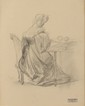 François GERARD (1770-1837) Femme à l'ouvrage Dessin au crayon Cachet de la succession en bas à droite 21,3 x 17,2 cm (à vue) (8,4 x 6,8 in.)  Pencil Stamp lower right