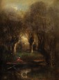 Jules DUPRÉ (1811 - 1889) Promenade entre les saules Huile sur toile Signée en bas à gauche 56 x 43 cm (22 x 16,9 in.)  Oil on canvas Signed lower left