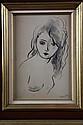 André DIGNIMONT (1891-1965) Buste de femme nu Dessin à l' encre et lavis Signé 25 x 17 cm