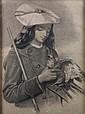 ECOLE FRANCAISE XIXè SIECLE Jeune basque au faucon dessin a la craie noire 48,5 x 35 cm (a vue)