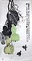 CHINE ROULEAU PEINT représentant des gourdes , insciption d'un poême avec cachet. 99 x 52 cm