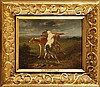 Joseph Urbain MELIN (1814-1886)  Couple de chiens Sur sa toile d'origine Signé et daté 1872 en bas à gauche  22 x 27 cm  On its original canvas, Signed and dated 1872 lower left, 8,6 x 10,6 in.