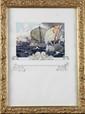 Frantisek KUPKA (1871-1957) Bataille navale Aquarelle et gouache Signé en bas à droite 28x20cm.