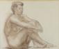 René LETOURNEUR (1898-1990) Nu féminin Lavis et crayon sur papier Monogrammé en bas à droite RL 42 x 51 cm (à vue)