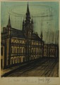 Bernard BUFFET (1928-1999) La cathédrale Lithographie Signé en bas à droite, numéroté 52/150 en bas à gauche, dédicacé 65 x 50 cm (à vue)