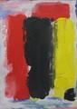 Bram BOGART (1921-2012) Composition Techniques mixtes sur carton Signé en bas à droite et daté 93 53 x 40 cm
