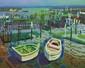 CHARON (né en 1927) Port ostréicole  Huile sur toile Signé en bas à gauche 65 x 81 cm