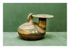 Italie Méridionale, IVème  siècle avant J.-C. Daunien (Listata) probablement Canossa.  ASKOS. Céramique beige. Décor géométrique rouge et noir.  Petits éclats.   H. 11 cm