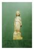 Grèce, V ème IV ème siècle avant J.-C.  KORÈ. Terre cuite patine de fouille, reste d'enduit blanc, traces de polychromie. Debout vêtue de l'himation, elle porte une couronne.  H. 35 cm