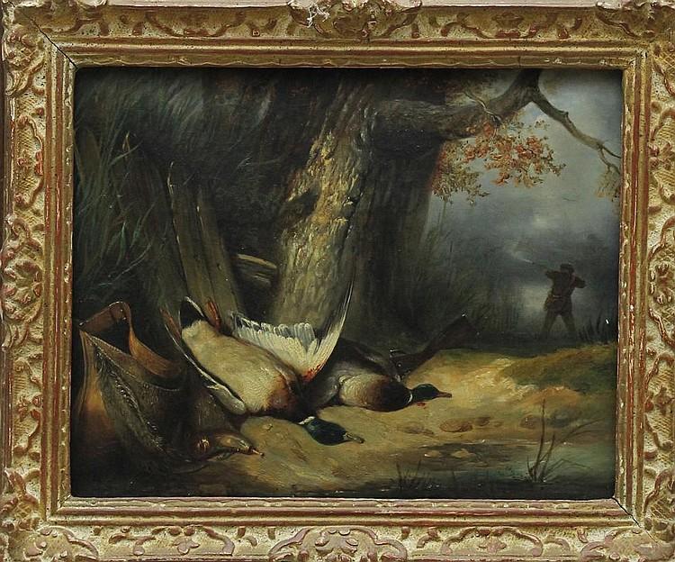 Attribué à Eugène EUDES (XIXème siècle) La chasse aux colverts Huile sur toile Signée à la hampe sur le châssis EUDES et datée 1836 33 x 41 cm