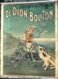De Dion Bouton, célèbre affiche pour les cycles représentant un lévrier et une femme avec son vélo et la mer en second plan, signée C. Fournery, c1925, Imprimerie des affiches Gaillard Paris-Amiens, collée sur Zinc pour affichage, grand modèle 120 x