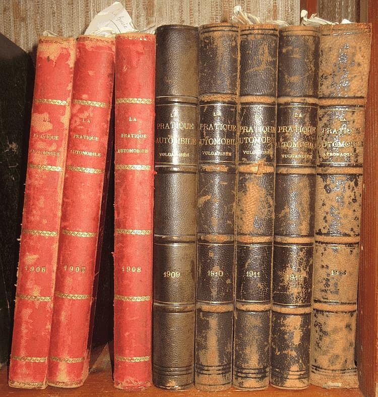 La Pratique Automobile, les années 1906 à 1913, soit 8 volumes.