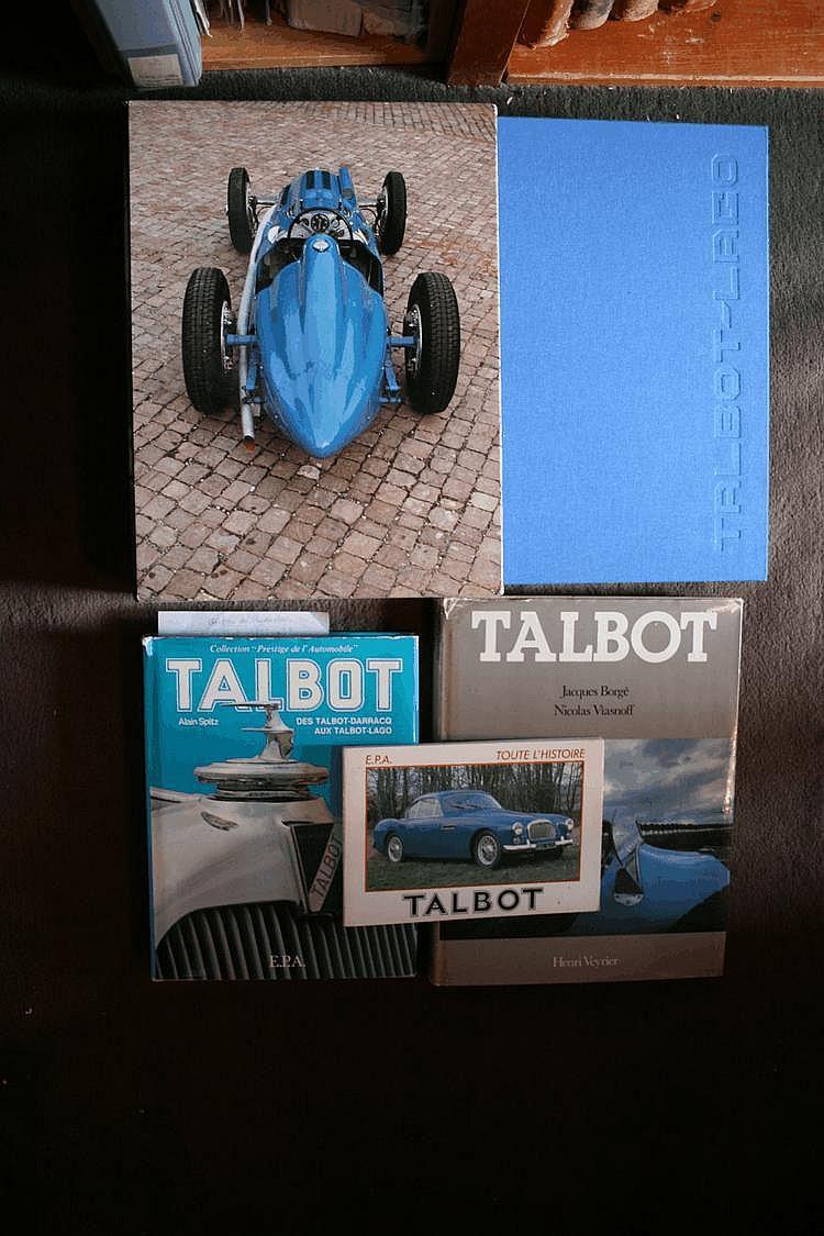 Talbot, lot comprenant :Talbot Lago de Course, par Pierre Abeillon, éd. Du 22 janvier, 1992, sous emboitage, numéroté 213/1500, offert par l'éditeur, Prix 1992 de l'Académie Bellecourt. Talbot par Alain Spitz, EPA, 1983, Talbot par Borgé et Viasnof,