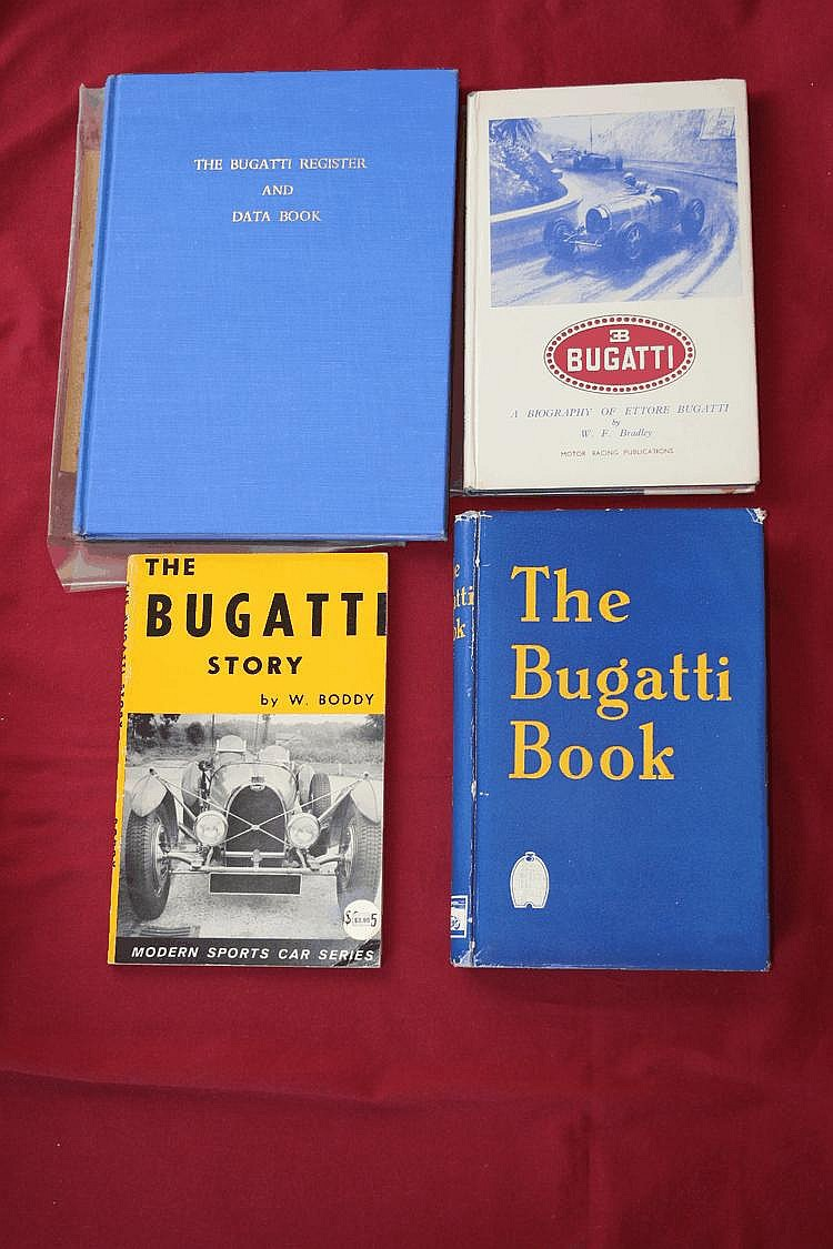 Register & Data of Bugatti Automobiles, par H. Conway, 1962 , The Bugatti Book, par Eaglesfield, Barry with Hampton, C W P, 1954, The Bugatti Story, par Boddy William, 1960, Bugatti - A biography of Ettore Bugatti, par Bradley W F, 1948.