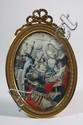 Ecole FRANCAISE du XVIIÈme siècle  Saint Jacques, l'Archange Gabriel et un autre Archange.  H.  13,5 - L. 9,5 cm  Cadre en laiton de style Louis XVI