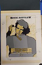 RICK ASTLEY THE ORIGINAL PRODUCTION ARTWORK FOR IN-STORE POSTER
