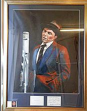 FRANK SINATRA AN ORIGINAL PAINTING BY JAMES WILKINSON WITH A LETTER FROM THE SINATRAS TO SAMMY DAVIS JUNIOR