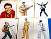 6 ORIGINAL PAINTINGS OF ELVIS INTENDED FOR USE AS POSTCARDS
