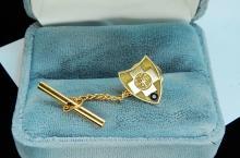 1.7G 10K Gold Sapphire Crest Shield Tie Tack Pin