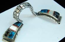 Sterling Silver Zuni Stone Inlaid Watch Tips