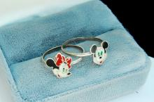 Sterling Mickey & Minnie Mouse Ring Lot Size 7
