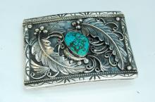 72g Sterling Turquoise Navajo Signed Belt Buckle
