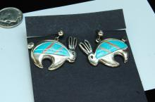 13g Sterling Teme Zuni Inlaid Rabbit Earrings