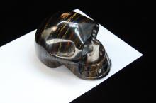 Natural Tigers Eye Pyrite Carved Skull Specimen