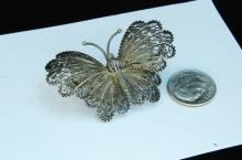 Antique 7.4g Sterling Filigree Butterfly Brooch