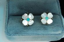 Vintage Sterling Zuni Inlaid Flower Post Earrings