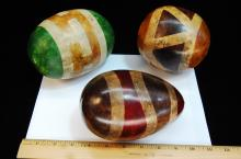 Hand Painted Decorative Gourd Art Rattle Lot Of 3