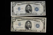 1934 US Silver Certificate 5 Dollar Bill Lot Of 2