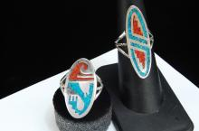 Costume Jewelry Inlaid Turquoise & Coral Ladies Ring Lot Size 7