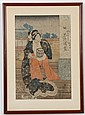 YAMAGUCHI SHIGEHARU (1803-1853, Japan) WOODBLOCK ON PAPER - Woman in kimono with house in background. Condition good; scattered smal...