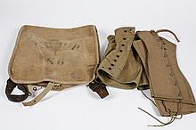 US VINTAGE MILITARY CANVAS SACK AND 2 PAIR CANVAS SPATS - Rucksack has leather straps with brass hooks, stenciled mark
