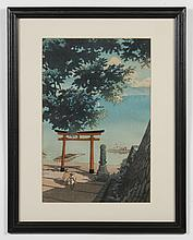 KAWASE HASUI (1882-1957, Japan) WOODBLOCK ON PAPER - Red seal, lower right. Woodblock picturing a lake with figures in a small rowbo...