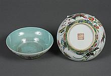 PAIR OF CHINESE PORCELAIN BOWLS WITH BUTTERFLIES - Decorated with brightly colored butterflies and flower blossoms on the exterior w...
