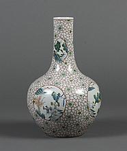 LARGE CHINESE PORCELAIN VASE - Globular body rising to an elongated tubular neck; decorated with reserves depicting farming, fishing...
