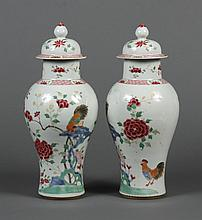 PAIR CHINESE PORCELAIN COVERED JARS WITH ROOSTERS - Baluster form with high rounded shoulders rising to a short neck and tapering to...