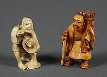TWO CARVED IVORY NETSUKE - One portrays a man carrying a bundle of kindling and is unsigned; the second shows a man holding a basket...